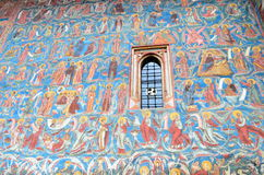 Voronet monastery - Wall Painting. Image of Voronet monastery wall, with it's famous Voronet Blue Stock Photography