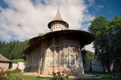 Voronet orthodox painted monastery, Bucovina. Listed in UNESCO`s list of World Heritage sites Stock Images