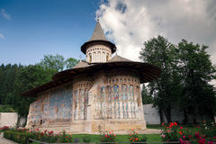 Voronet orthodox painted monastery, Bucovina. Listed in UNESCO`s list of World Heritage sites Stock Photo