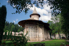 Voronet orthodox painted monastery, Bucovina. Listed in UNESCO`s list of World Heritage sites Royalty Free Stock Images