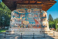 Voronet Monastery is a famous painted monastery in Romania. Voronet, Romania, July 06, 2015: Voronet Monastery is a famous painted monastery in Romania Stock Image