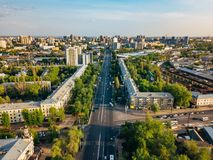 Voronezh city in summer day, aerial view from drone royalty free stock photography