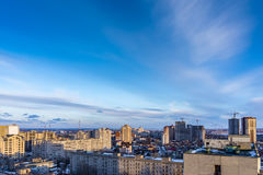 Voronezh cityscape aerial view of modern buildings and colourful sky with copysp. Ace, hdr photo Royalty Free Stock Images