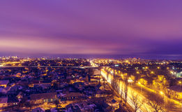 Voronezh downtown. Night cityscape from rooftop.Architecture. Royalty Free Stock Image