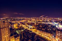 Voronezh downtown. Night cityscape from rooftop. Houses, night lights Royalty Free Stock Photography