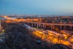 Voronezh highway. Transport interchange with overpass and bridge Stock Images