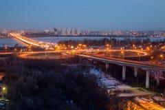 Voronezh highway. Transport interchange with overpass and bridge Stock Photo