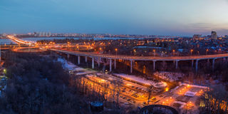 Voronezh highway. Transport interchange with overpass and bridge Royalty Free Stock Photography