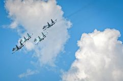 Group flight of russian aerobatics team royalty free stock image
