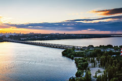 Voronezh from rooftop, evening and sunset, North bridge, panoramic view. Dramatic cityscape, skyline Stock Photos