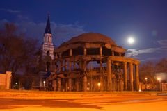 Voronezh Rotunda and Church of Equal to the Apostles Vladimir at night Stock Image