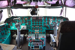 VORONEZH, RUSSIA - AUGUST 28, 2013: Cargo airplane IL-76M cockpit interior Royalty Free Stock Images