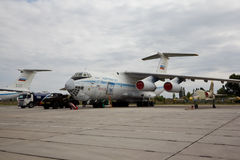 VORONEZH, RUSSIA - AUGUST 28, 2013: Cargo airplane IL-76M Stock Images