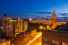 Voronezh, Russia - Circa 2014: Evening summer Voronezh aerial cityscape. View to Stepan Razin street royalty free stock photo
