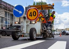 Application of road marking with a special vehicle Royalty Free Stock Photos