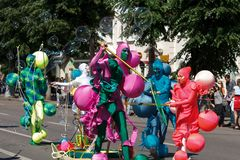 Voronezh, Russia: June 12, 2016. Parade of street theaters on a fine sunny day. Fun, joy stock photo