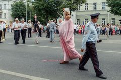 Voronezh, Russia: June 12, 2015. Parade of street theaters on the main street of the cit royalty free stock image