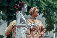Voronezh, Russia: June 12, 2015. Parade of street theaters on the main street of the city stock image