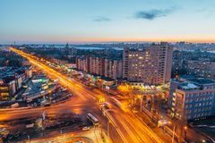 Voronezh, Russia - March 04, 2017: Evening Voronezh cityscape from rooftop. View to Leninskiy Prospect Royalty Free Stock Photography