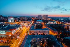 Voronezh, Russia - September 17, 2017: Aerial night view of Voronezh downtown. Stock Photos