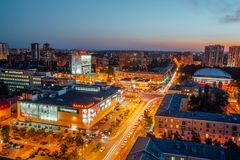 Voronezh, Russia - September 17, 2017: Aerial night view of Voronezh downtown. Stock Images