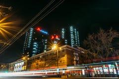 Voronezh, Russie - 12 avril 2018 : Photo de nuit du centre ville dedans localisé par Marriot d'hôtel de la ville de Voronezh Images libres de droits