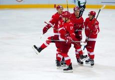 A. Voronin (17) rejoice of score Stock Photos