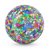 Voronoi sphere. 3D sphere with Voronoi tessellation on white background Stock Image