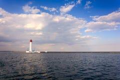 Vorontsov fyr i Odessa, Ukraina Seascape på Black Sea arkivbilder