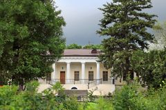 The mansion of Count Vorontsov in the Botanical Garden in Simferopol city, Crimea. The Vorontsov House is one of the main attractions of Simferopol. The building royalty free stock image