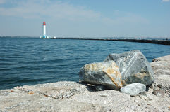 Vorontsov Lighthouse in the Gulf of Odessa,Black sea, Ukraine Royalty Free Stock Photo