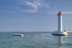 Vorontsov Lighthouse in the Gulf of Odessa Stock Images