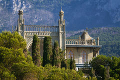 Vorontsov Palace. In the town of Alupka, Crimea, Ukraine. Southern facade stock image