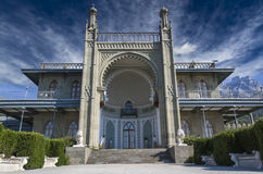 Vorontsov Palace. In the town of Alupka, Crimea, Ukraine. Southern facade royalty free stock photo