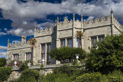 Vorontsov Palace. In the town of Alupka, Crimea, Ukraine. Southern facade stock photo