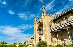 The Vorontsov Palace in Alupka, Crimea. The Vorontsov Palace in Alupka, a major tourist destination in Crimea royalty free stock photo
