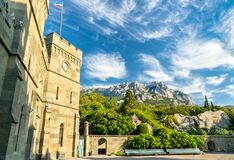 The Vorontsov Palace in Alupka, Crimea. The Vorontsov Palace in Alupka, a major tourist destination in Crimea royalty free stock photos