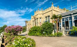 The Vorontsov Palace in Alupka, Crimea. The Vorontsov Palace in Alupka, a major tourist destination in Crimea stock image