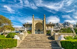 The Vorontsov Palace in Alupka, Crimea. The Vorontsov Palace in Alupka, a major tourist destination in Crimea stock photo