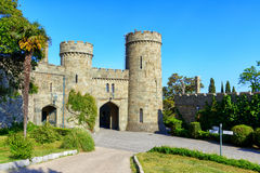Vorontsov Palace in Crimea. ALUPKA, RUSSIA - MAY 20, 2016: Entrance to the Vorontsov Palace. Vorontsov Palace is one of the attractions of the Crimea royalty free stock image