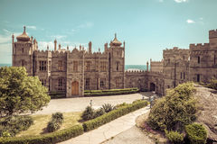 Vorontsov Palace in Crimea. Alupka, Russia - May 20, 2016: Vorontsov Palace in Crimea. This palace is a tourist attraction of Crimea stock photo
