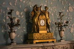Vorontsov Palace Interior Bronze Fireplace Clock Crimea royalty free stock photography