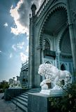 Vorontsov Palace with lion statues in Crimea. Alupka, Crimea - May 20, 2016: Vorontsov Palace with lion statues in Crimea, Russia. Vorontsov Palace is one of the stock photo