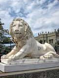 Vorontsov Palace Yalta Lion. Vorontsov Palace on the Black Sea coast in the Crimea, the city of Yalta. lion at the entrance to the building royalty free stock image