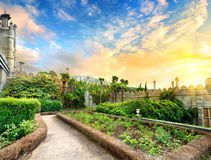 Vorontsov park. Vorontsov garden in the town of Alupka, Crimea, Ukraine stock image