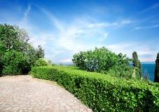 Vorontsov's park in summer. Green summer park in Vorontsov's residence in Crimea royalty free stock images