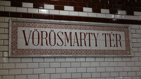 Vorosmarty Tér. The name of the station in historical subway Line 1 in Budapest Stock Photos