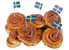 Vorrat an schwedischen Zimtbrötchen stockfoto