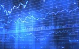 Vorrat-und Börsentelegraf-Daten bezüglich der blauen Stangen Stockfoto