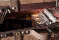 Vorrat von Gold-u. Silbermünzen, Stangen mit Pass Lizenzfreie Stockbilder